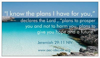 Jeremiah 29:11 - our magnet
